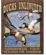 Ducks Unlimited Conservation DU Metal Sign Tin New Vintage Style USA #1750 - $9.85
