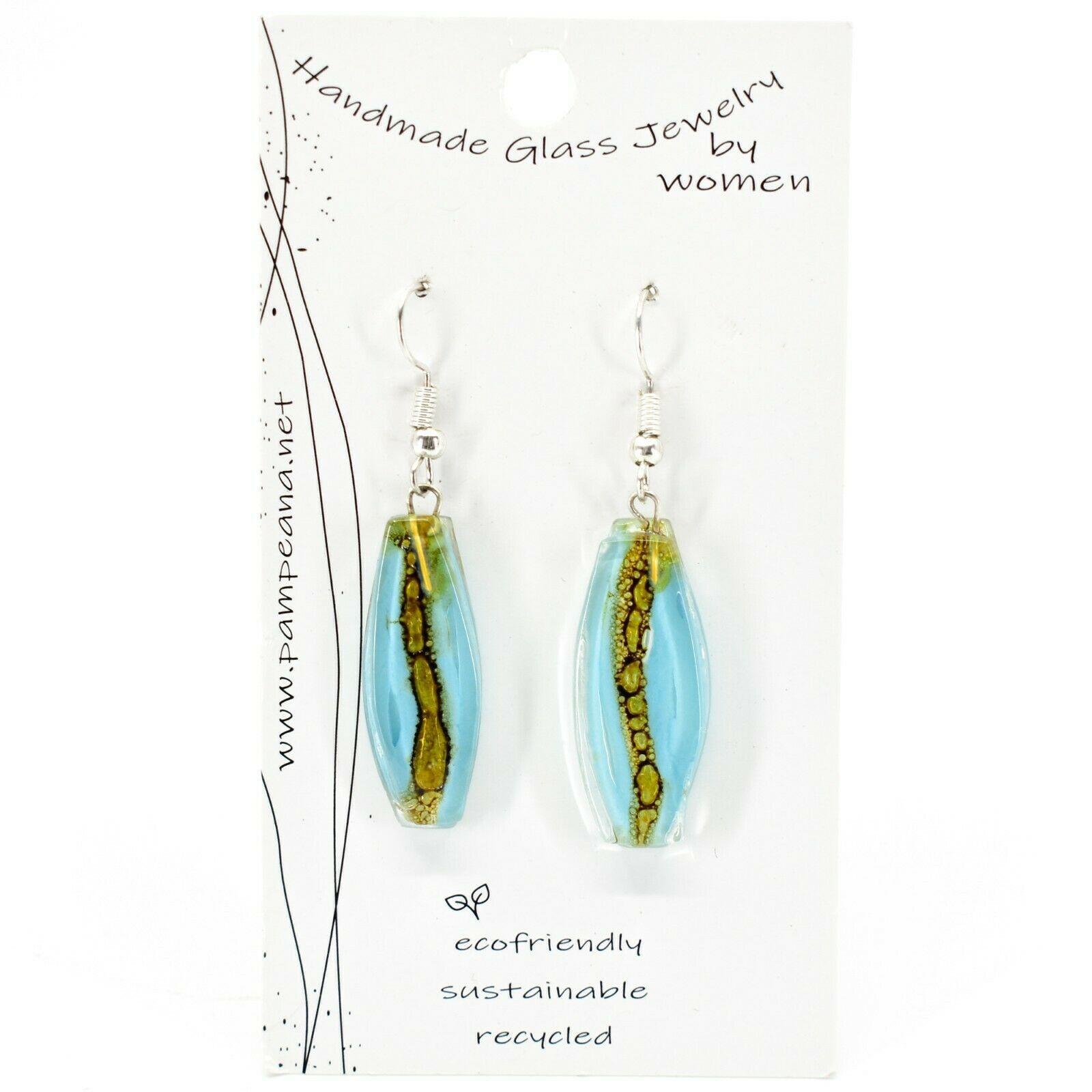 Handmade Recycled Fused Glass Blue & Brown Oval Surf Hook Earrings Made Ecuador