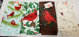 "SET OF 4 DIFFERENT PRINTED TERRY TOWELS (15"" x 25"") CHRISTMAS CARDINAL B... - $19.79"