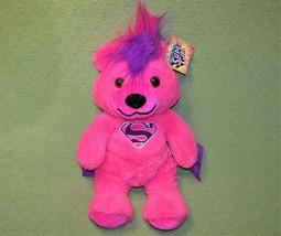 "19"" SUPER GIRL TEDDY BEAR DC COMICS PINK PLUSH PURPLE MOHAWK WITH TAG SI... - $17.82"