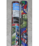 USA MARVEL AVENGERS HULK  Christmas Wrapping Paper Red Blue 20 SQ FT ROLL - $4.50+