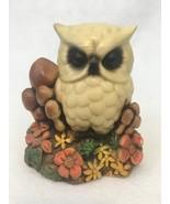 "Vintage Orzeck OWL w/ MUSHROOMS FLOWERS 5.25"" Figurine TerreStone - $8.56"