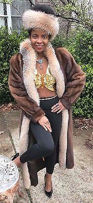Mint Designer Full Length Sable hue Mink & Crystal Fox Fur Coat Jacket S-M + hat