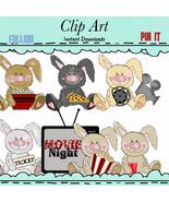 Big Nose Bunny Movie Night Clip Art - $1.35