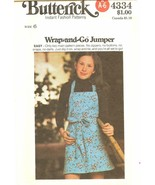 Butterick 4334 Childrens Girls Wrap-and-Go Jumper Easy Pattern Size 6 UN... - $7.47