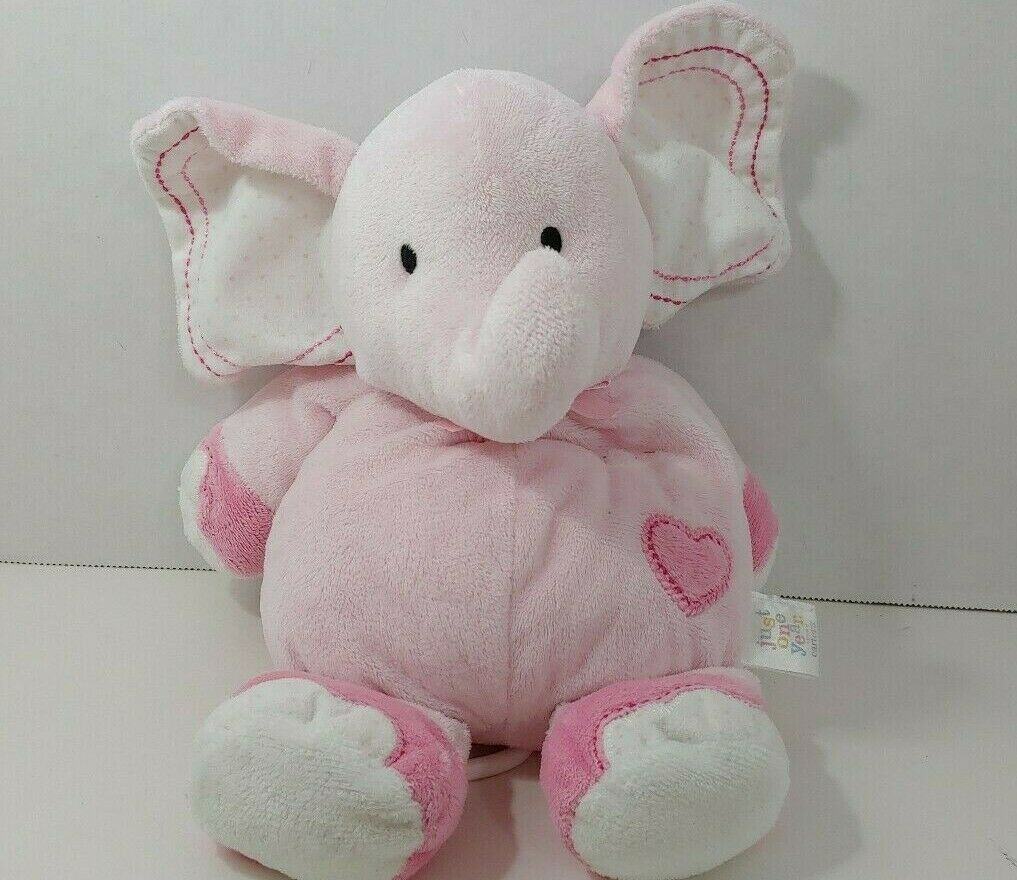 Primary image for Carters Just One Year Pink Heart Musical Elephant Plush Baby Crib Toy Brahms