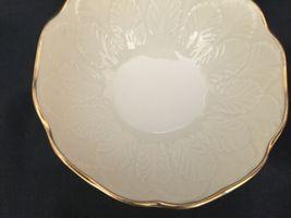 Vintage Lenox Cream Beige 24k Gold Rim Encrusted Bowl Made in USA Leaf Leaves image 5