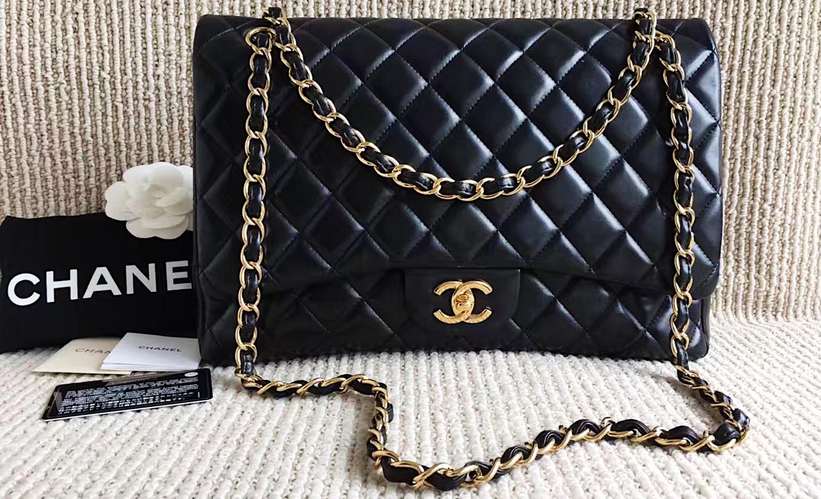 60bf213590a7 100% Authentic Chanel Black Quilted Lambskin Maxi Classic Flap Bag ...