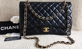 100% Authentic Chanel Black Quilted Lambskin Maxi Classic Flap Bag GHW