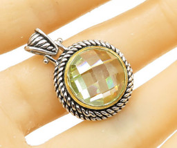 925 Sterling Silver - Faceted Round Domed Gemstone Drop Pendant - P1284 - $32.68