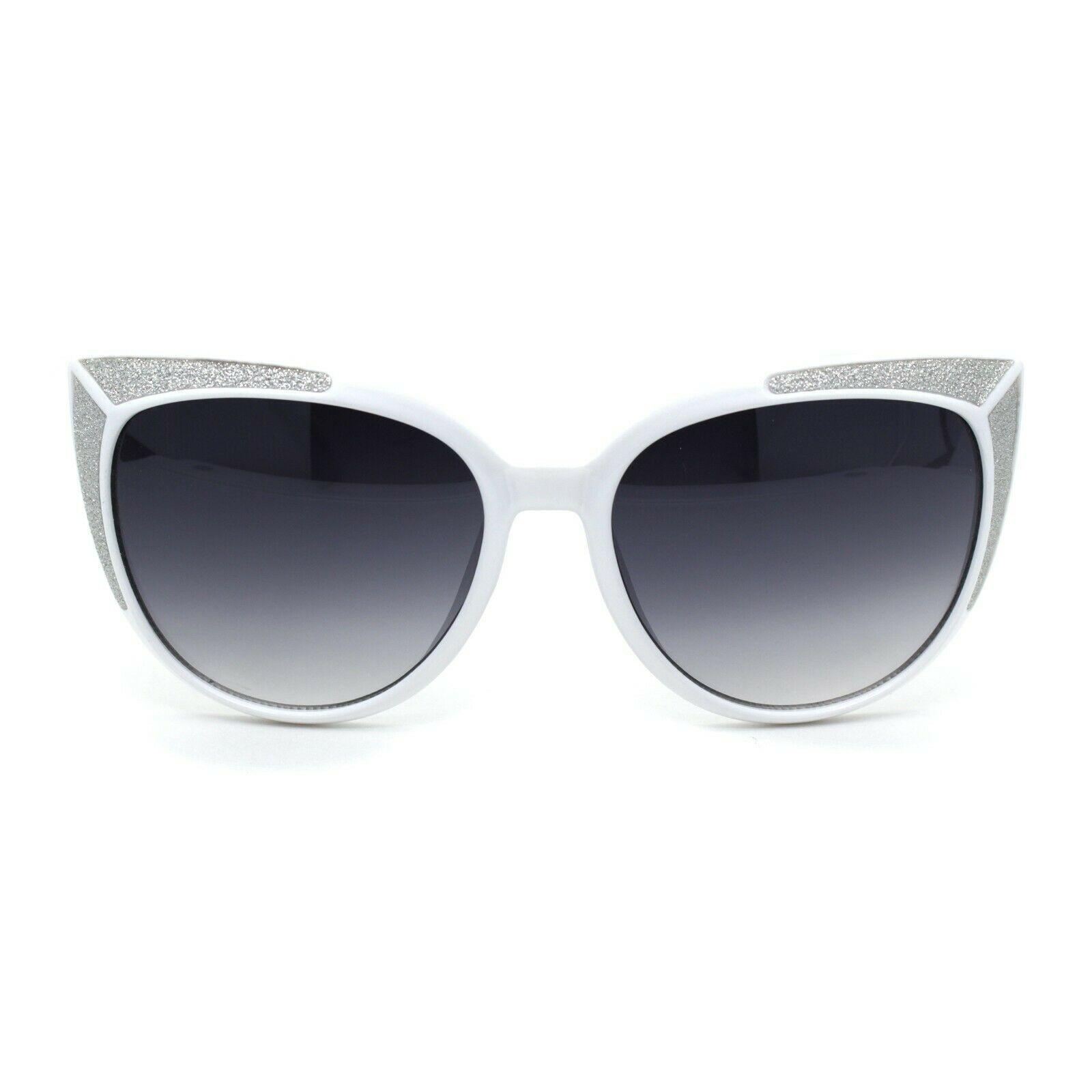 Womens Glitter Trim Oversize Cat Eye Mod Plastic Sunglasses