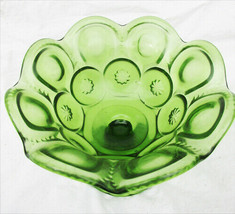"L.E. Smith Moon and Stars green small 5"" compote bowl pedestal base - $9.85"