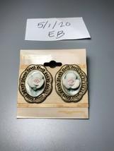 Vintage Charmante Goldtone Cameo Pierced Earrings - $7.91