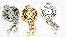 ROCK ON RECORD W/ DANGLE MUSIC NOTE FINE PEWTER PENDANT CHARM -13x28x3.5mm image 1