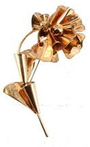 "Vintage Sterling & Rose Gold Vermeil 4"" Poppy Flower Pin Mid Century Modern - $101.24"