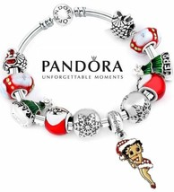 Authentic Pandora S925 Silver Bangle Bracelet with charms Betty Boop Chr... - $84.14