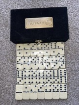 BACARDI BAT Dominoes Game 28 Pieces with Black Velvet Case - $109.77