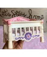 Fisher Price Naptime Crib Pink White Crib 2006 Used Toy Kids Play Nice C... - $24.75