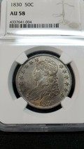 1834 Capped Bust Half Dollar 50C - Certified NGC AU58 Coin image 2