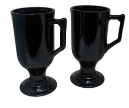 2 Tall Footed All Black Mugs with Handles Coffee Cocoa Cappuccino Irish ... - $17.81