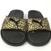 Puma Womens Slides Shoes Animal Print Gold Black Metallic Sandals Slip-On Sz 5 - $34.60