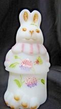 Fenton Art Glass HP Swarovski Crystal Butterfly Bunny Rabbit Trinket Box... - $49.50