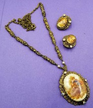 Vintage West Germany Lord & Lady Clip Earrings & Matching Necklace W70 - $24.75