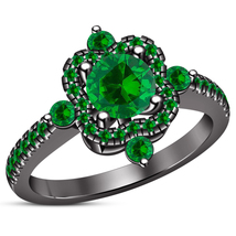 Black Rhodium Finish 925 Sterling Silver Green Sapphire Women's Engageme... - $84.99