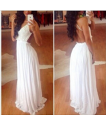 Romantic White  Pink Floral Lace Backless Maxi Long Dress 4 Party Event ... - $16.19