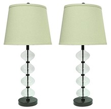 Urbanest Set of 2 Beautor Table Lamps in Oil-Rubbed Bronze and Glass wit... - $118.79