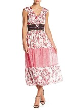 Taylor Women's Ruffle Neck Mixed Print Chiffon Dress Fuchsia/Ivory $128 ... - $49.49
