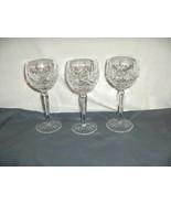 "3 Vintage Waterford Crystal Lismore Hock Wine 7.50"" Goblets Thumbprint NICE - $173.25"