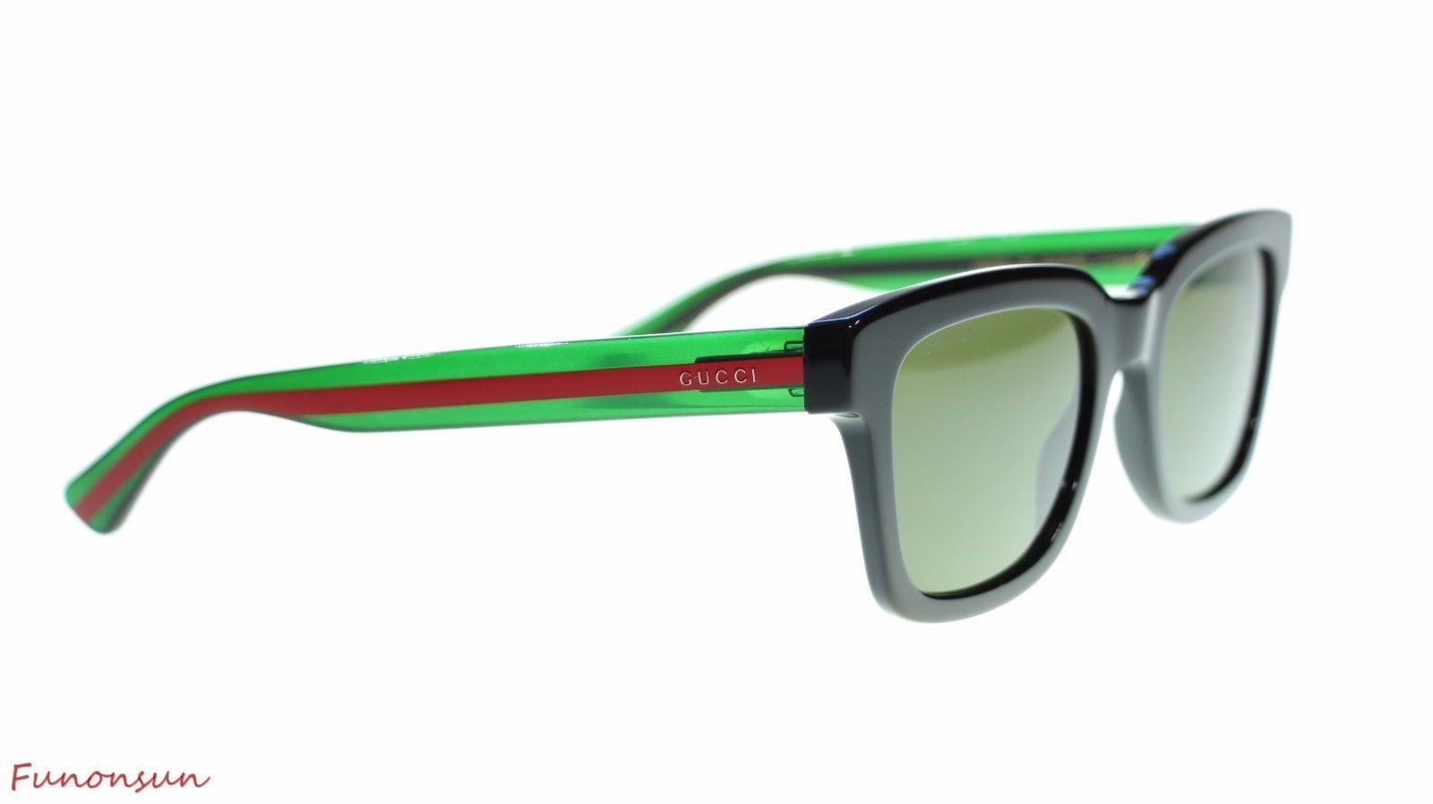 2c0c89d279 Gucci Men Square Sunglasses GG0001S 002 Black Green Green Lens 52mm  Authentic
