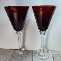 Ruby Red Ribbed Red Wine Glass Goblet Stemware Set Of 2 - $24.75