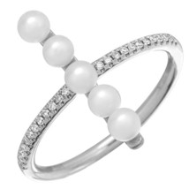 14KT White Gold Pearl Ring L25529 - $663.00
