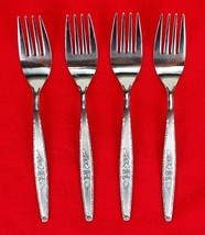 "4X Dinner Forks Stylecraft SYF2 Stainless Satin Rose Flatware 7 3/8"" Fork - $47.52"