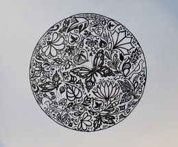 """Akimova: BUTTERFLIES AND FLOWERS, ink, black&white, 10""""x10"""" - $20.00"""