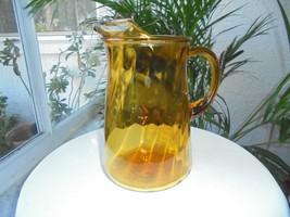 Bartlett & Collins Large Glass Amber Swirl Pattern 2 Quart Pitcher c 1960's - $28.70
