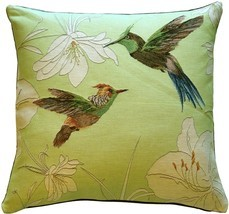 Pillow Decor - Hummingbirds Green French Tapestry Throw Pillow - £61.02 GBP