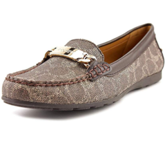 Coach Womens Olive Open Toe Loafers, Black-Bark/Chestnut, Size 5.5M  - $99.00