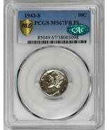 1943-S 10C Mercury Dime PCGS CAC MS67FB PL POP 1/0 Silver Rare Coin Rare Coin - $3,900.00