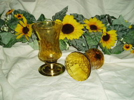 Home Interiors Tall Amber Votive Cups Homco b - $8.99