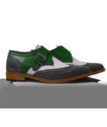Handmade Men Gray White Green white Dress Shoes Leather Monk Formal Brog... - $169.97+