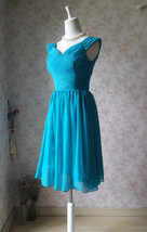 Teal Short Bridesmaid Dresses Prom Dress Teal Color Dresses Sleeveless XXXL NWT image 2
