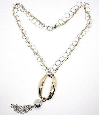 Collar Plata 925 , Doble Cadena Rolo, Blanca y Amarilla, Ovalados Flecos, Dijes image 2