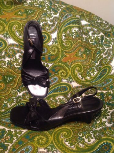 ETIENNE AIGNER WOMEN'S BLACK LEATHER SLINGBACK BOW TOW WEDGE SANDALS MRSP $62 - $24.74