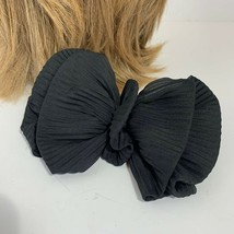 Vintage 80s 90s Oversized Black Big Hair Bow Ribbed Ponytail - $14.82