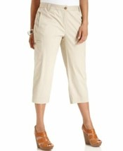 Charter Club Woman Capri Pants Sz 24W Doe Brown Cotton Cargo Casual Crop... - $19.71