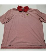 Chicago Blackhawks Adidas Red White Striped Polo Golf Shirt 2XL Good Con... - $17.81