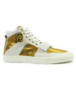 NEW/AUTH GUCCI 376195 Men's Limited Edition High Top Sneaker, White/Gold... - $439.00